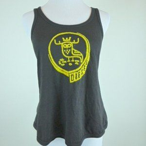 DIESEL black cotton.gold embroidered tank top L